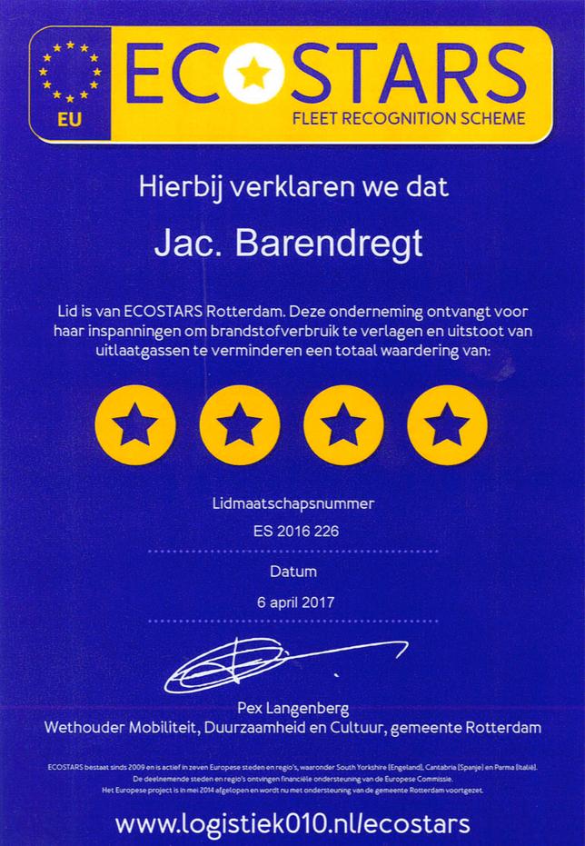 ECOSTARS Certificaat Jac. Barendregt